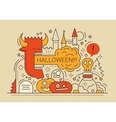 Halloween - line flat design card vector