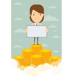 Happy business woman rising from pile of money vector