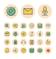 Icons thin red interface sign vector