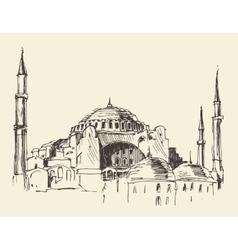 Istanbul turkey hagia sophia engraved sketch vector