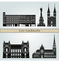 Linz landmarks and monuments vector