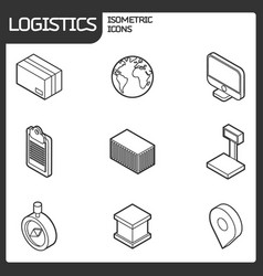 Logistics outline isometric icons vector