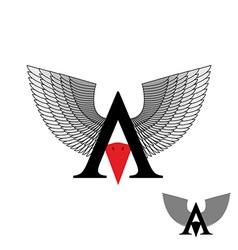 Logo letter a wings sign letter with beak bird vector