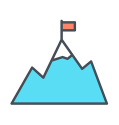mountains with flag on peak line icon vector image vector image