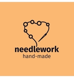 Needlework handmade logo design vector