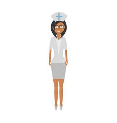 Nurse female with glasses uniform hat cross vector