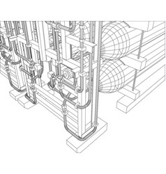 outline oil and gas industrial equipment vector image vector image