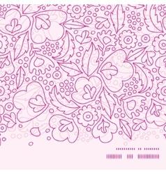 Pink flowers lineart horizontal frame seamless vector