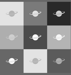 Planet in space sign grayscale version of vector