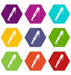 pneumatic screwdriver icon set color hexahedron vector image vector image