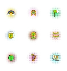 Saint patrick day icons set pop-art style vector