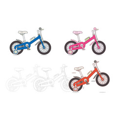 set of kids bicycles vector image