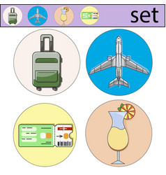Set of vacation icon and logo of airplane vector