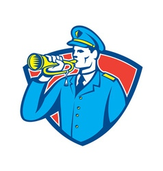 Soldier blowing bugle crest vector
