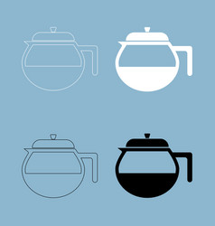 Teapot icon the black and white color icon vector