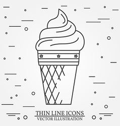 thin line icon ice-cream For web design and vector image