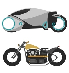 two motorcycles isolated on white modern vector image vector image