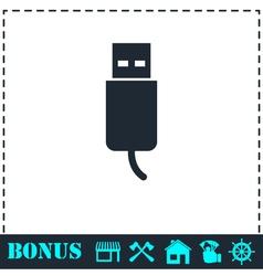 Usb plug icon flat vector
