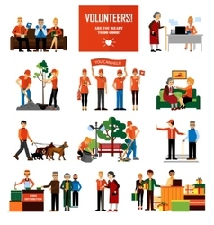 Volunteers people decorative icons set vector