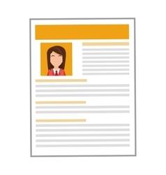 Yellow woman curriculum vitae icon vector