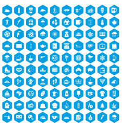100 coffee cup icons set blue vector