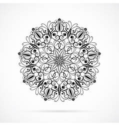 Black color mandala over white vector