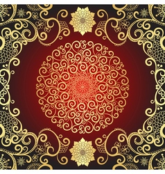 Vintage gold and dark red frame vector image