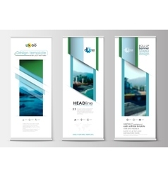 Roll up banner stands flat design abstract vector
