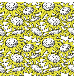 Decorative sunflowers seamless pattern vector