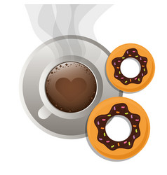 Coffee cup bread dessert donuts vector