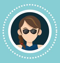 character girl sunglasses social media vector image