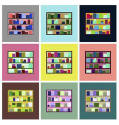 Assembly flat icons bookshelf vector