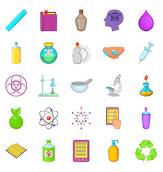Chemical experience icons set cartoon style vector