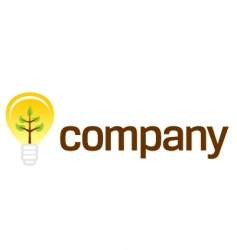 bulb company logo with plant vector image