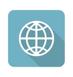 Globe square icon vector