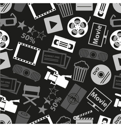 movie and cinema icons seamless dark pattern eps10 vector image