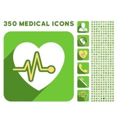 Heart pulse icon and medical longshadow icon set vector