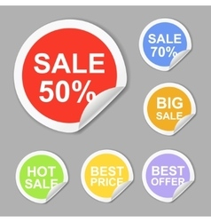 Paper sale stickers collection best offer vector