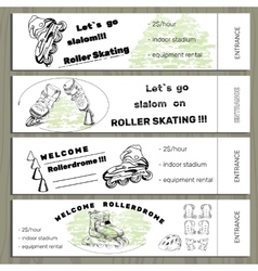 Set hand drawn tickets on rollerdrom with roller vector