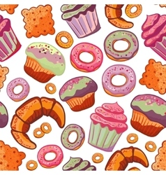 Food bakery seamless pattern with baked vector