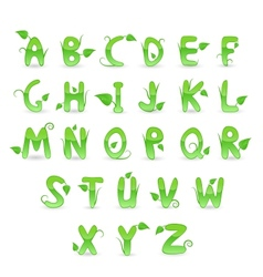 Green floral alphabet vector
