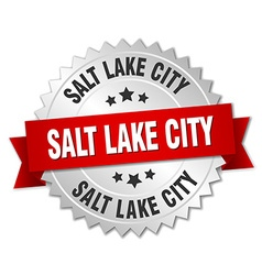 Salt lake city round silver badge with red ribbon vector