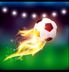 Soccer ball with fire vector
