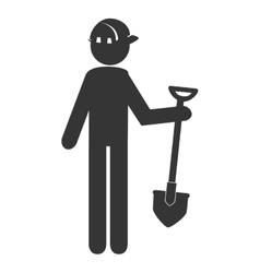 Worker with tools working pictogram design vector