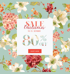 autumn sale floral hortensia banner for discount vector image vector image