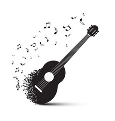 Black guitar with notes isolated on white vector