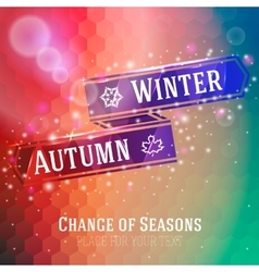 Bright ribbon with winter and autumn arrow icons vector