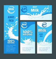 Cartoon natural milk brochures vector