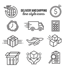 Delivery line style icon set vector