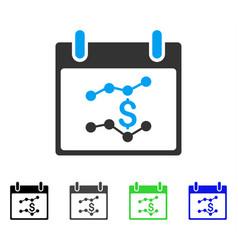 Financial charts calendar day flat icon vector